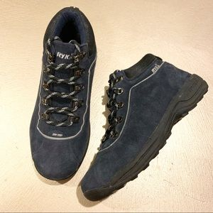 Ryka 8 Wide Blue Suede Lace Up Hiking Boots
